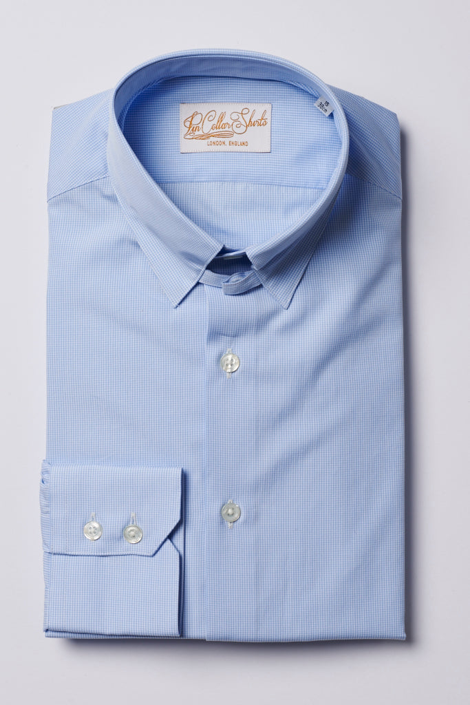 Mens Sky Blue Check Tab Collar Shirt Straight Collar