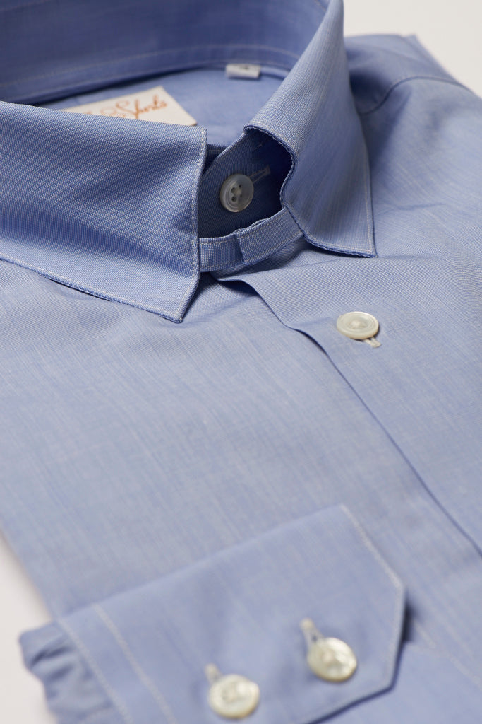 Mens Blue Tab Collar Shirt Straight Collar