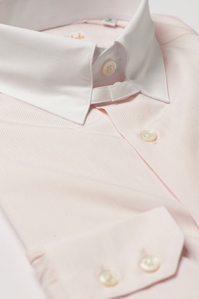 Mens Pink Striped Tab Collar Shirt White Straight Collar