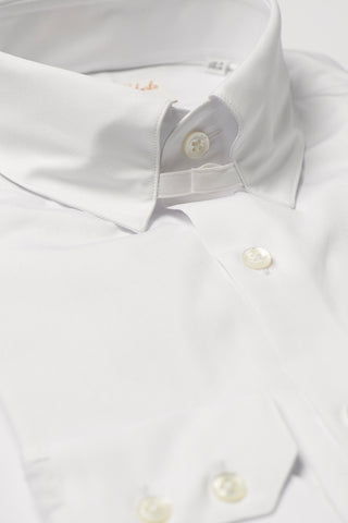 Mens White Tab Collar Shirt Straight Collar