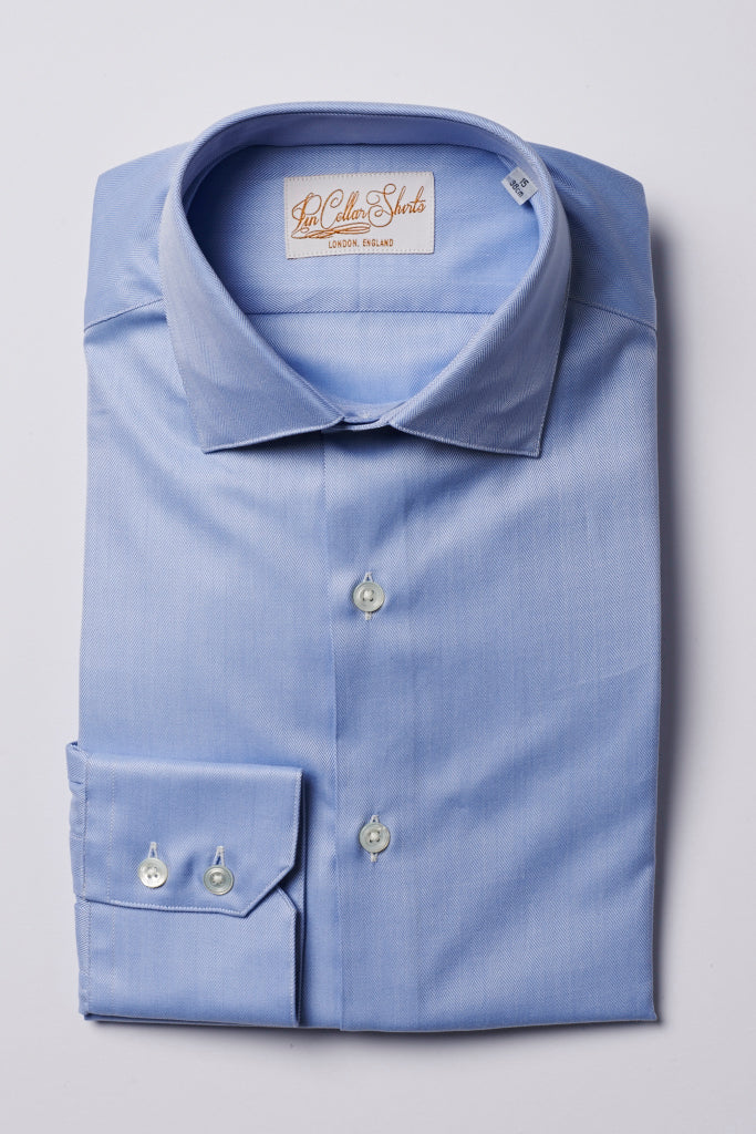 Mens Blue Formal Business Shirt 180 Collar