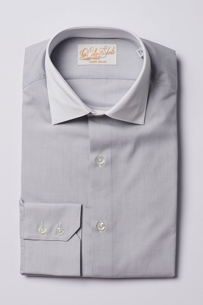 Mens Grey Formal Business Shirt White 180 Collar
