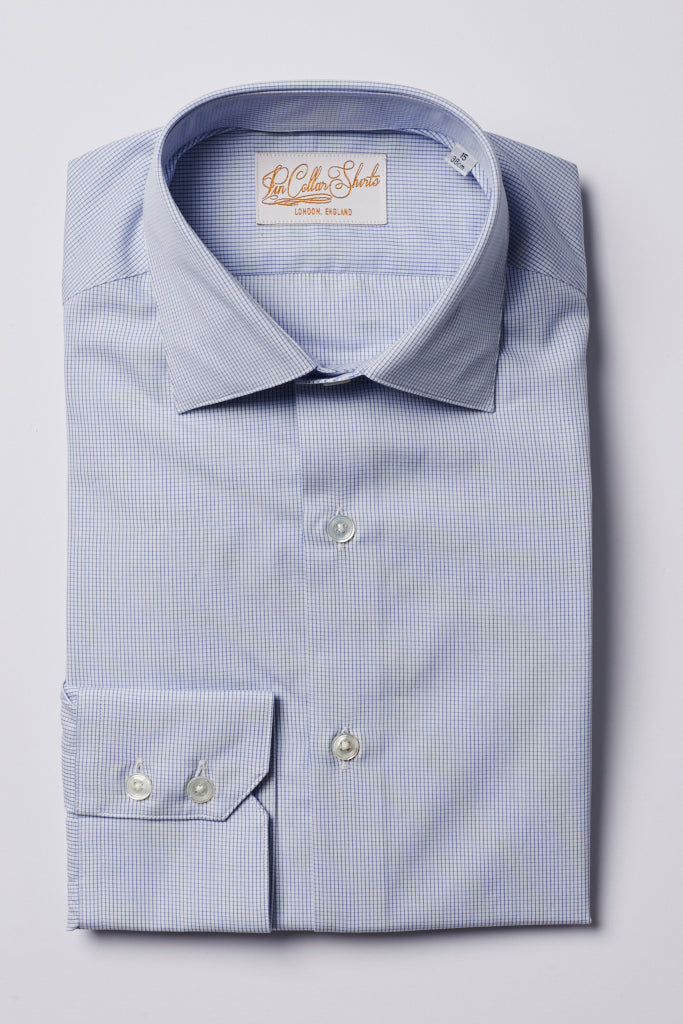 Mens Blue Check Formal Business Shirt 180 Collar