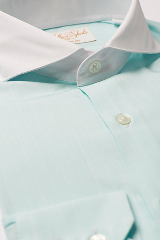 Mens Mint Green Formal Business Shirt Extreme Cutaway White Collar
