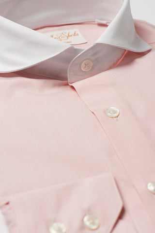 Mens Pink Formal Business Shirt Extreme Cutaway White Collar