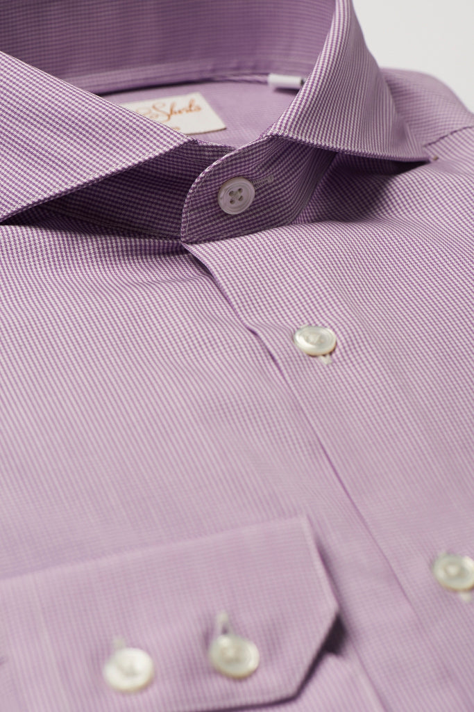 Mens Purple Check Formal Business Shirt Extreme Cutaway Collar