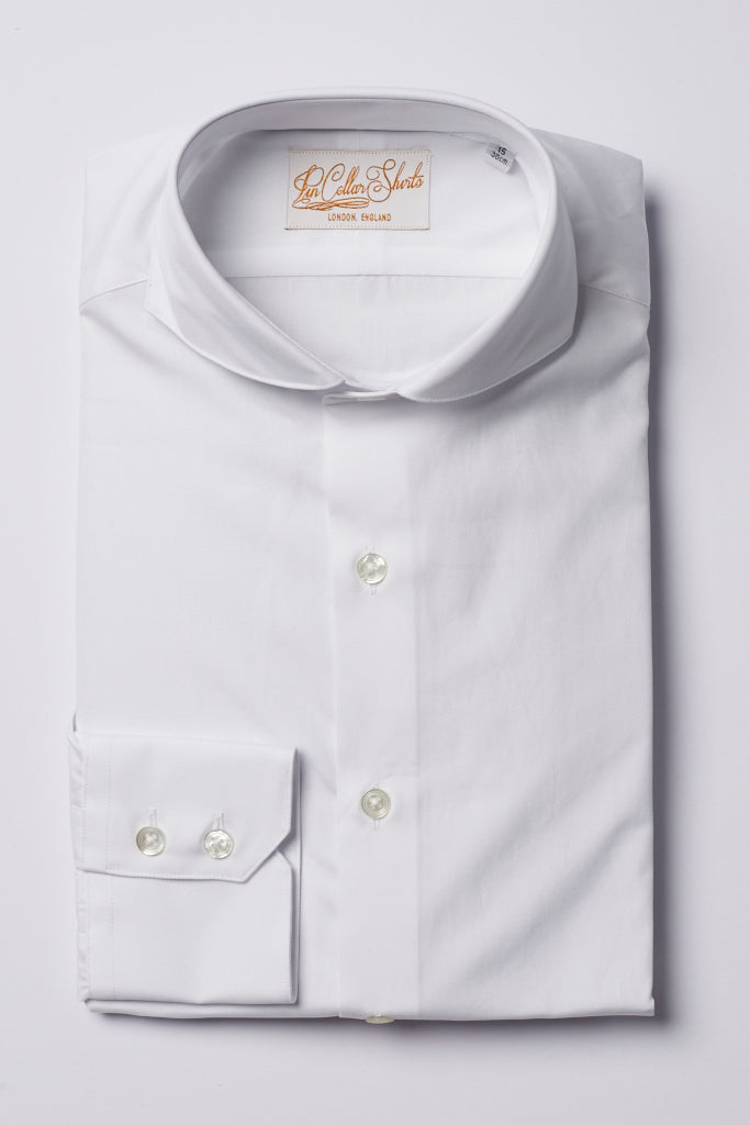 Mens White Formal Business Shirt Extreme Cutaway Collar