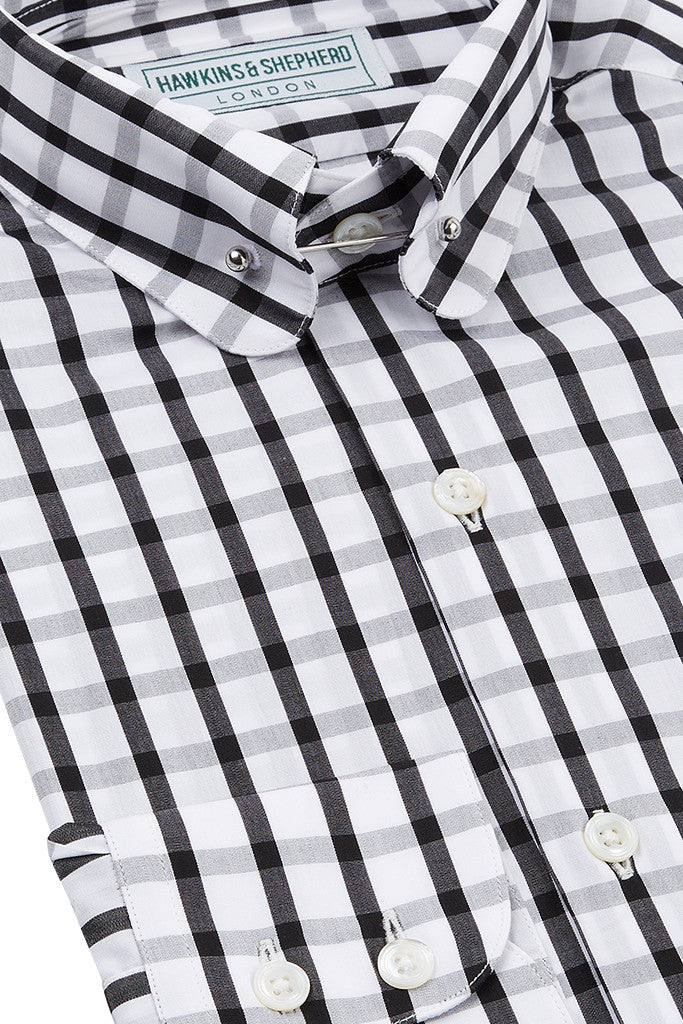Men's Black Check Pin Collar Shirt
