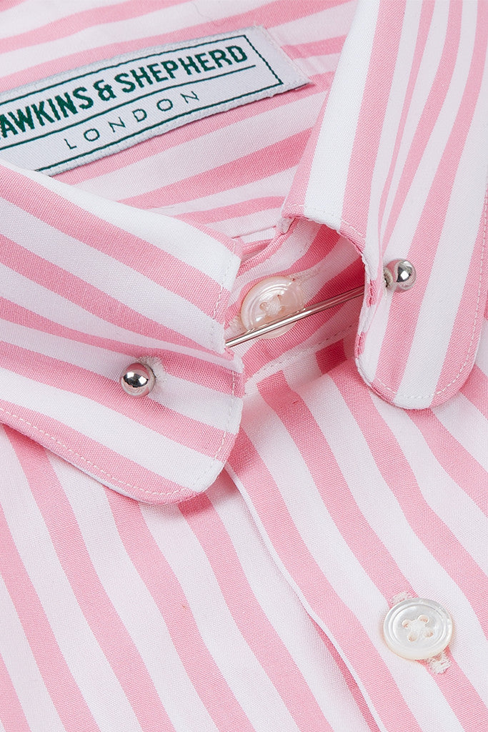 Men's Bold Pink Stripe Formal Pin Collar Shirt