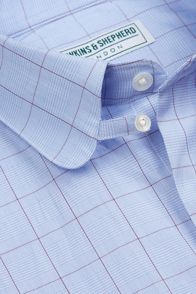 Men's Blue Purple Prince of Wales Check Formal Tab Collar Shirt