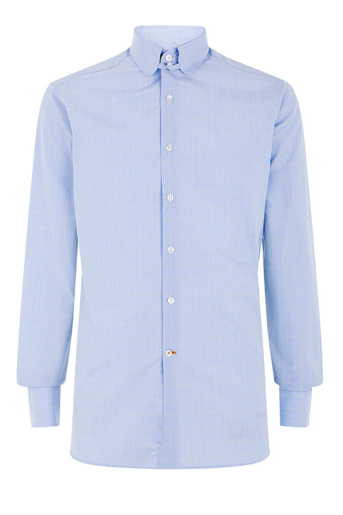 Men's Sky Blue Yellow Prince of Wales Check Formal Tab Collar Shirt