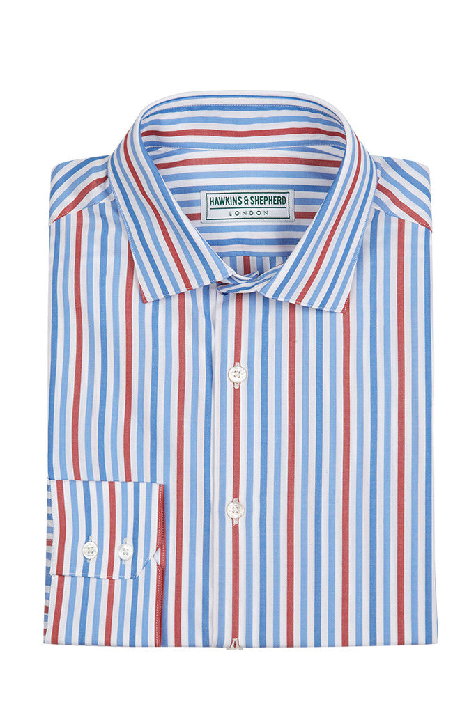 Men's Bold Blue Red Stripe Formal Shirt