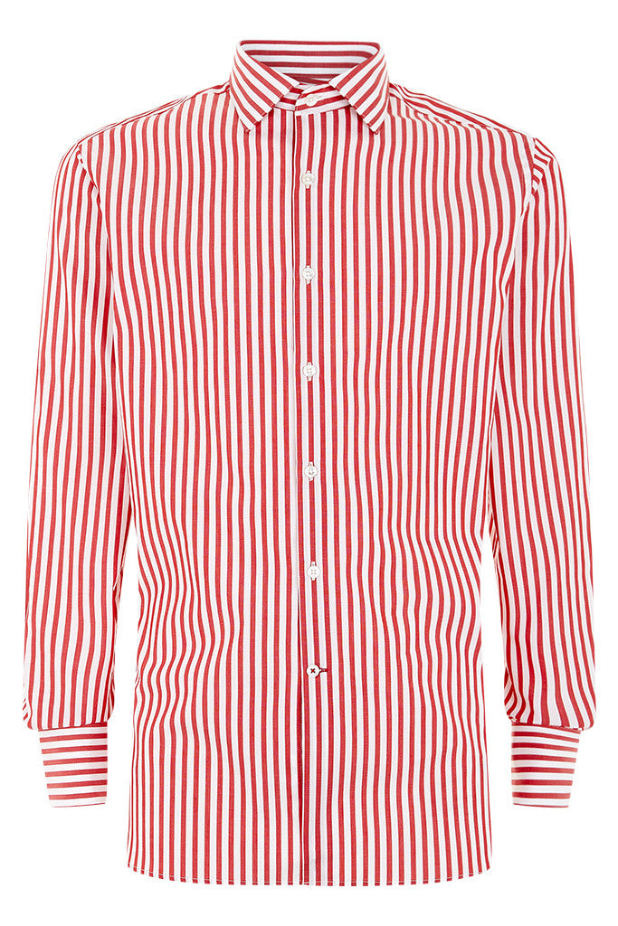 Men's Bold Red Stripe Formal Shirt