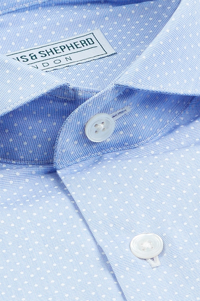 Men's Formal Extreme Cutaway Shirt Blue Polka
