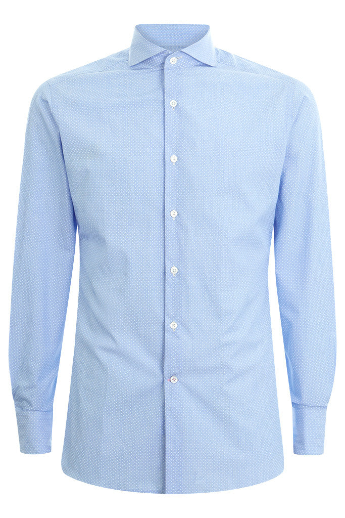 Formal Extreme Cutaway Shirt Blue Polka