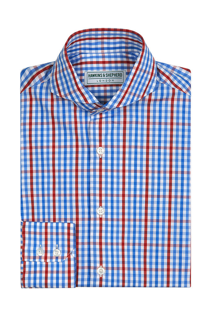 Men's Blue Red Gingham Check Formal Shirt