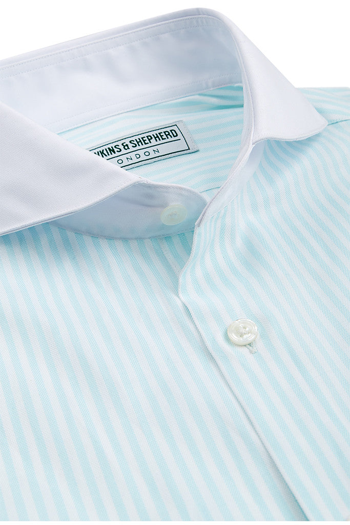 Men's Mint Green Stripe Formal Extreme Cutaway Shirt