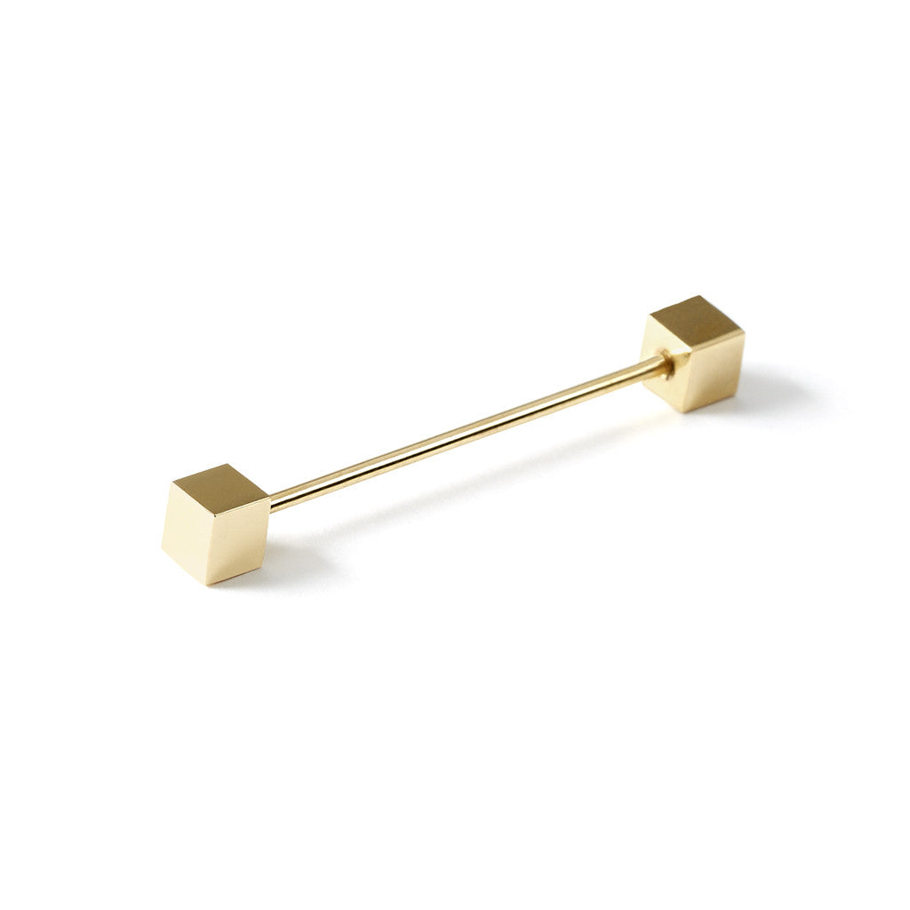 Collar Pin Bar Gold Square