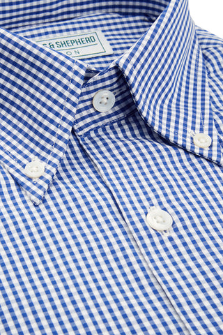 Men's navy check button-down shirt