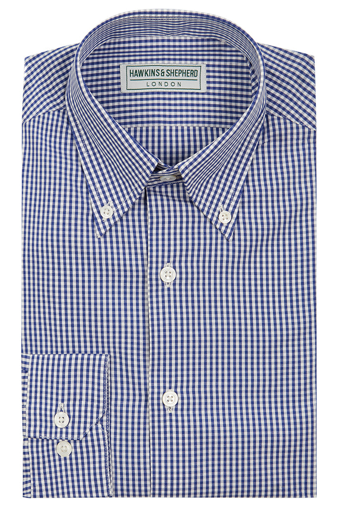 Men's navy button-down shirt by Hawkins & Shepherd
