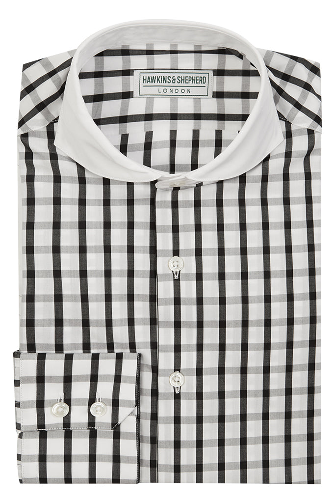 Men's Black and White contrast collar shirt by Hawkins & Shepherd