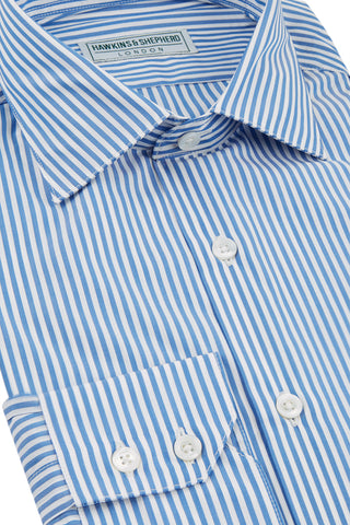 Hawkins & Shepherd Blue Stripe Luxury Soyella Duecento Shirt