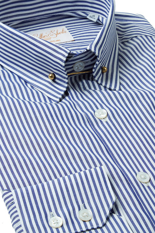 Mens Navy Blue Stripe Pin Collar Shirt
