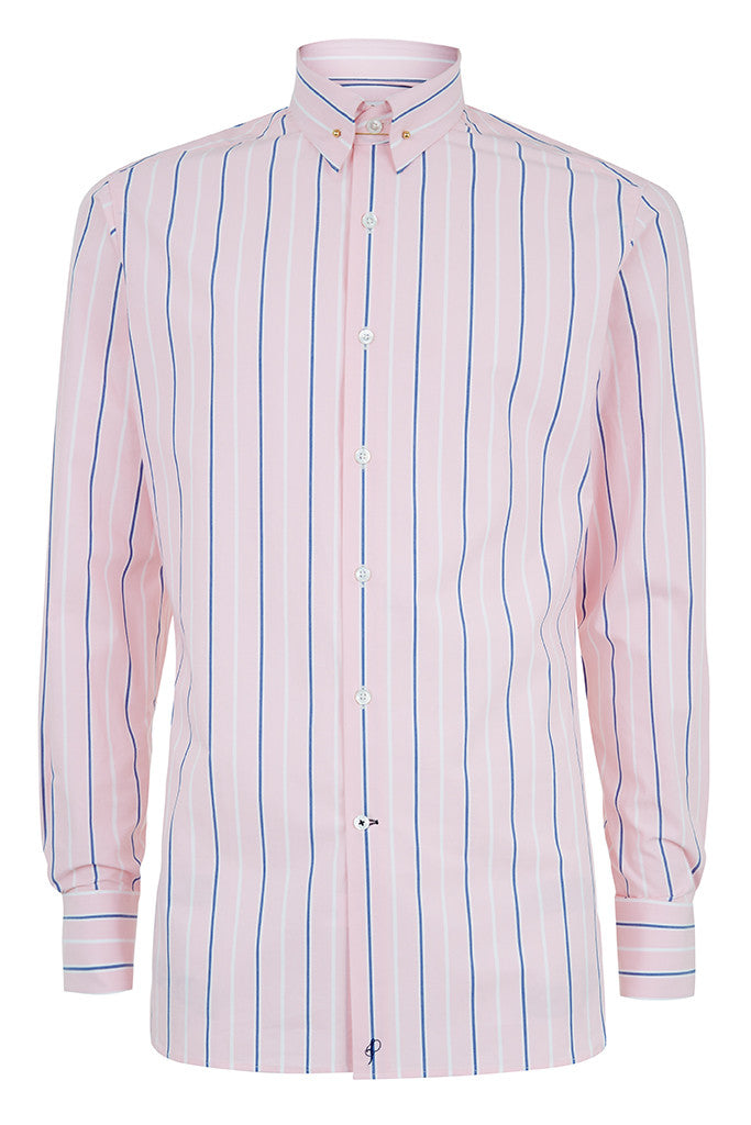 Mens Pink Navy Stripe Pin Collar Shirt