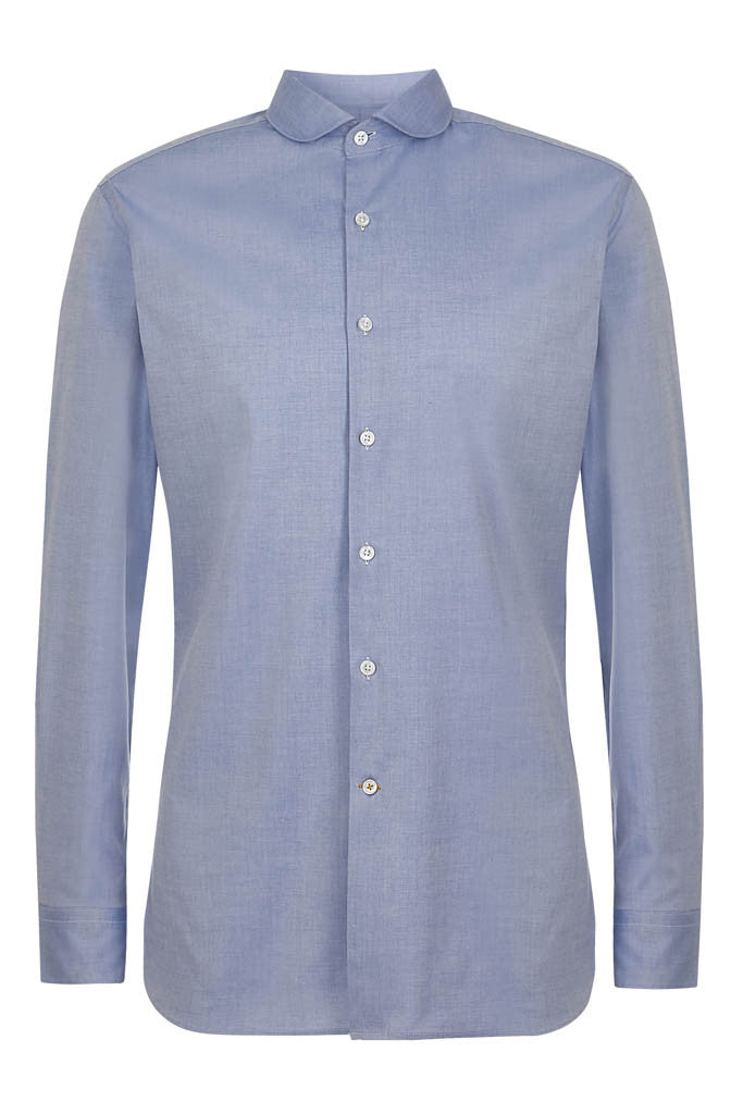 Mens Casual Blue Penny Cutaway Shirt