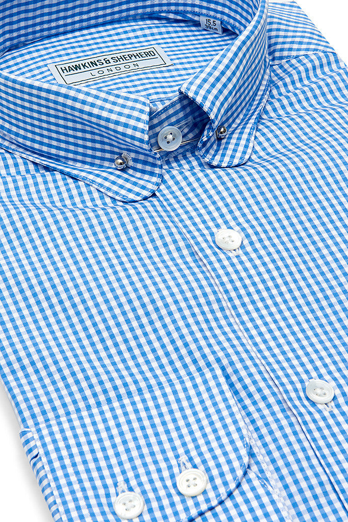 Blue Check Shirt with Pin Collar