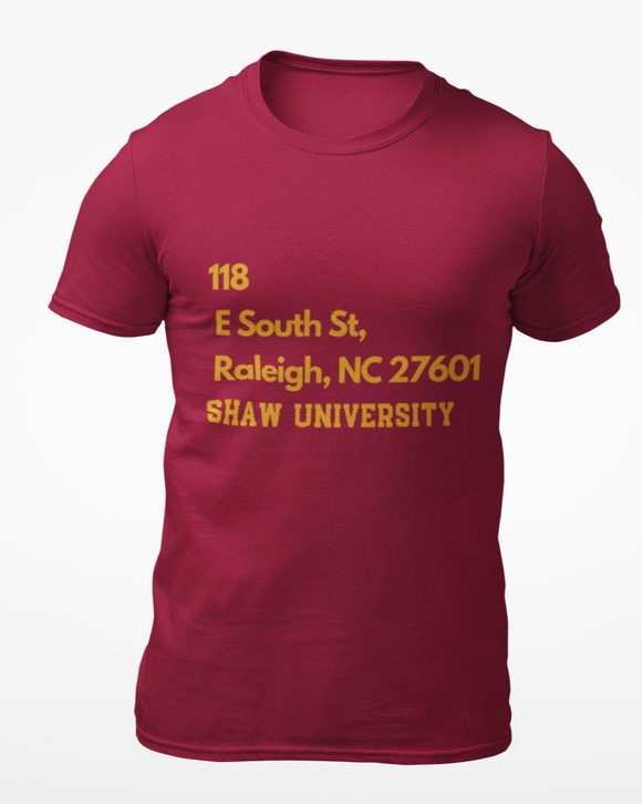 Shaw University 3 Address Tee