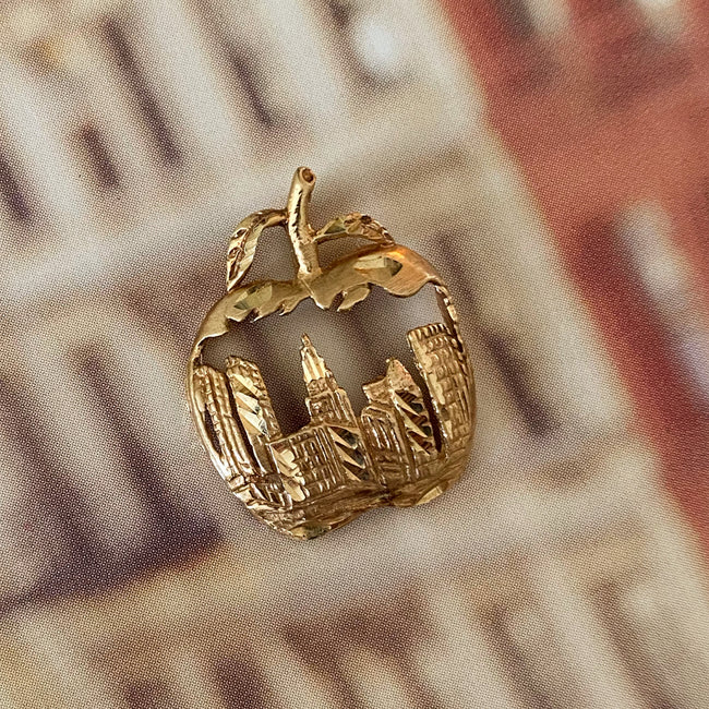 Vintage 14K Gold NYC Apple Charm