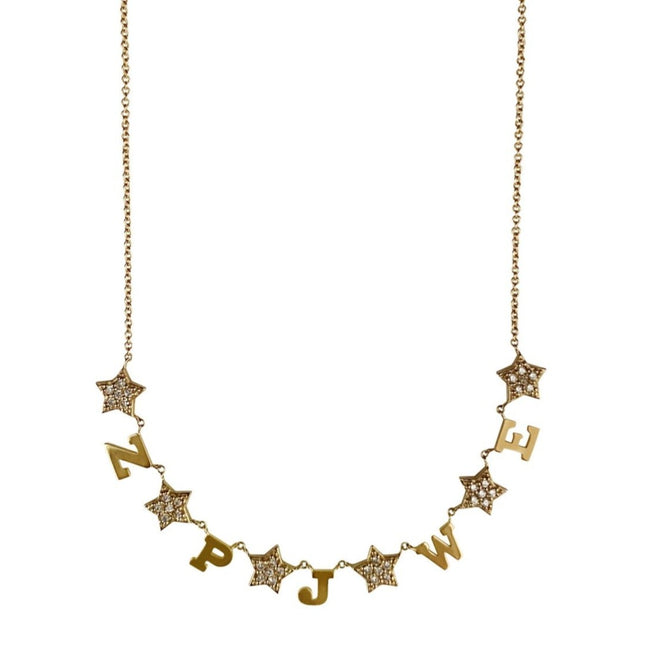 Customized Diamond Star and Gold Initial Necklace