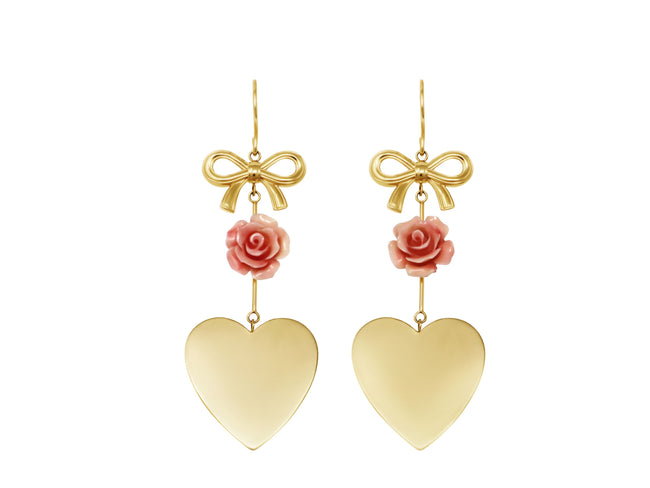 Bow and Heart Earrings