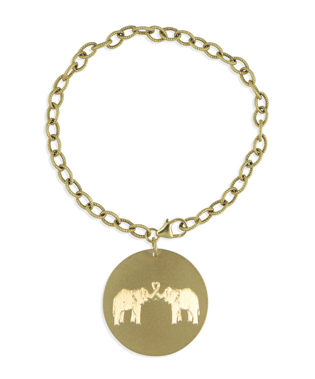 "1"" Engraved Disc on Charm Bracelet"