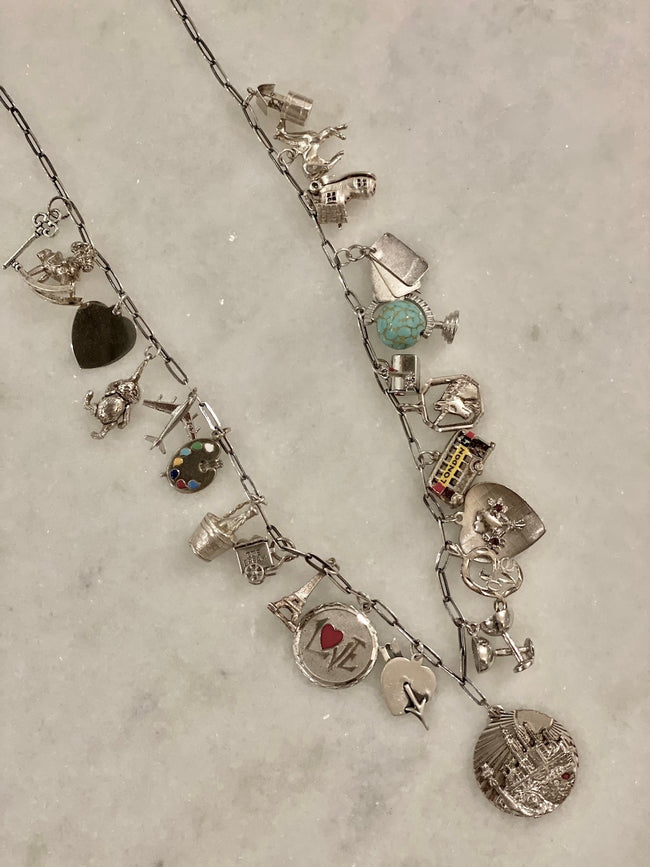 Sterling Silver Vintage Charm Necklace