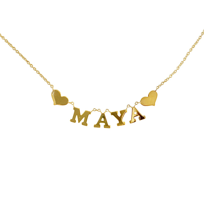 Customized Name Necklace with 2 Hearts