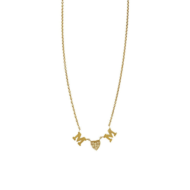 Customized Diamond Heart and Gold Initial Necklace