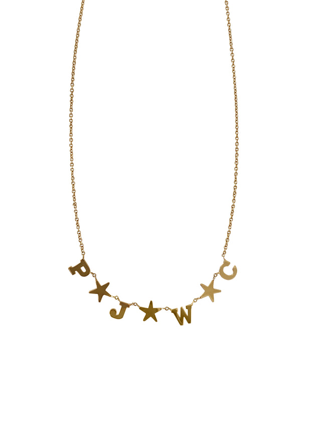 Customized Gold Star and Initial Necklace