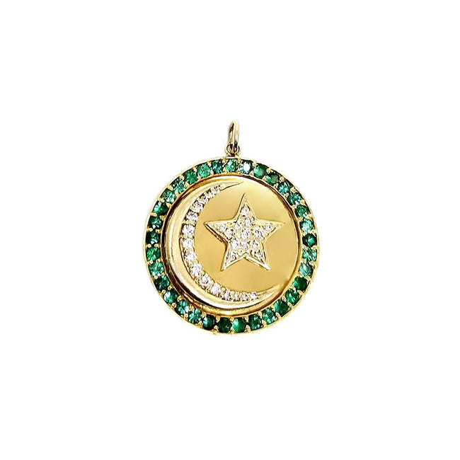 Stone Pendant with Diamond Moon & Star