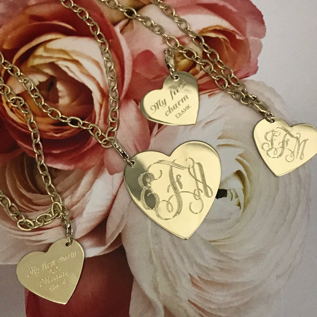 Engravable Gold Heart Charm