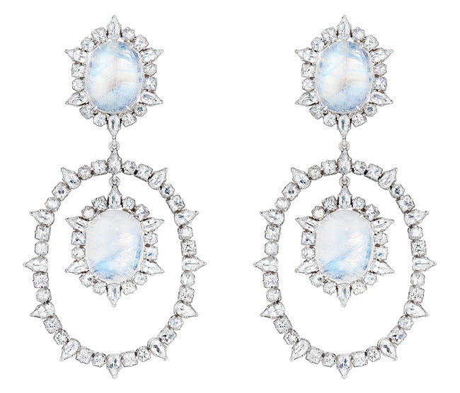 White Sapphire and Moonstone Ruffle Earrings