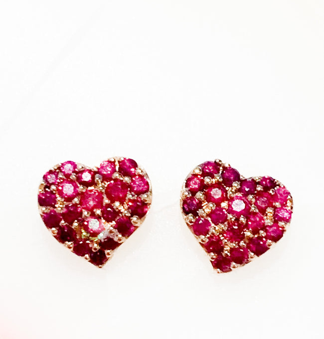 Rose Gold and Ruby Heart Studs