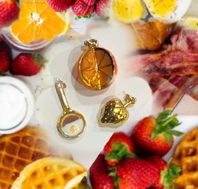 Vintage Gold Strawberry Charm