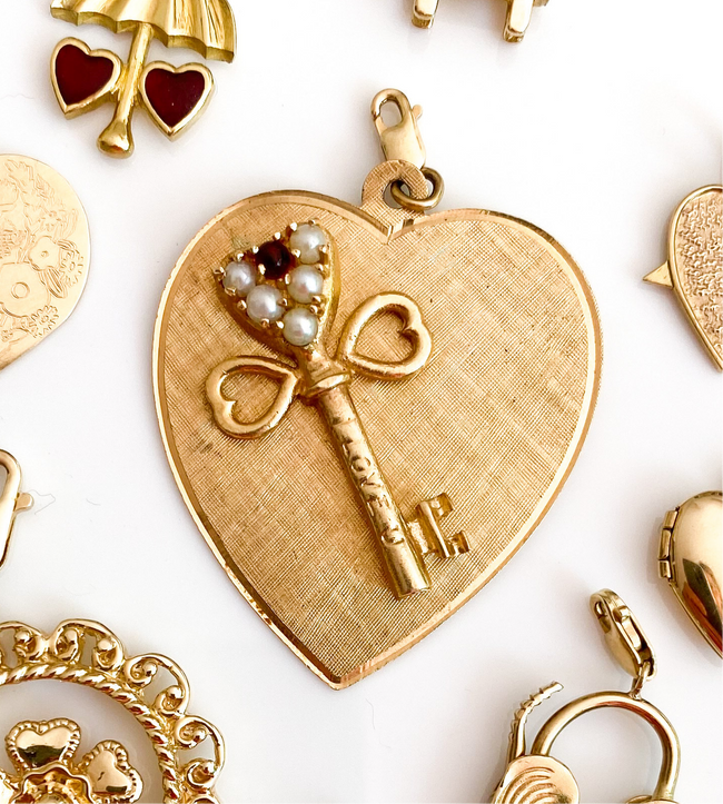 Vintage Gold Key To My Heart Charm