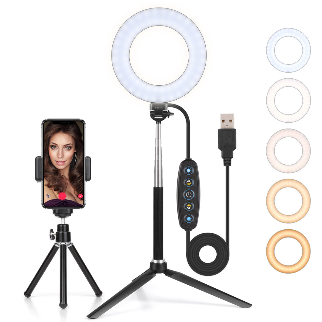 LED Ring Light Dimmable 6 Inch Makeup Ring Light,With Tripod Stand Selfie Stick,Ring Light for Streaming