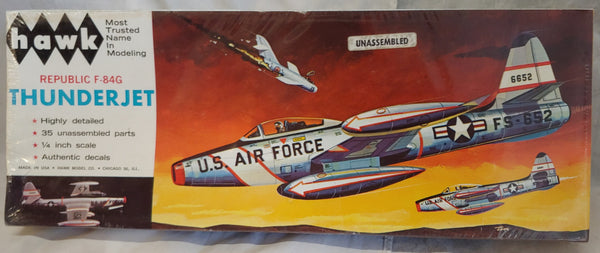 "'60s Hawk 1/4"" ( 1/48) Scale Republic F-85G Thunderjet Kit -Sealed"