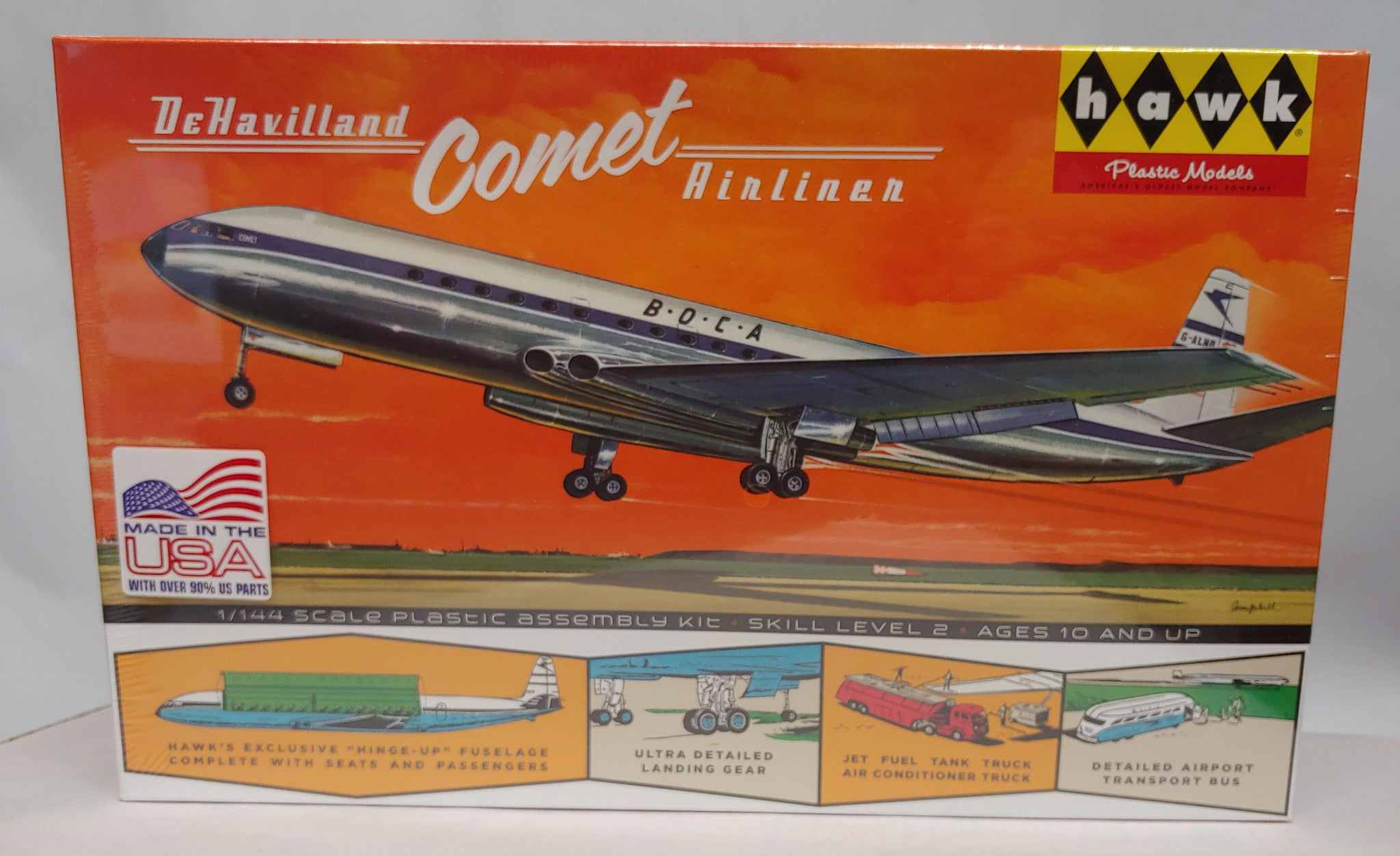 Hawk DeHavilland Comet 1/144 Scale Airliner BOCA -Interior Detail, More NIB
