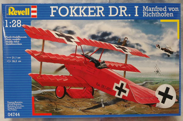 Revell Germany 1/28 Kit #4744 Fokker Dr.1 Triplane- Von Richtofen - New