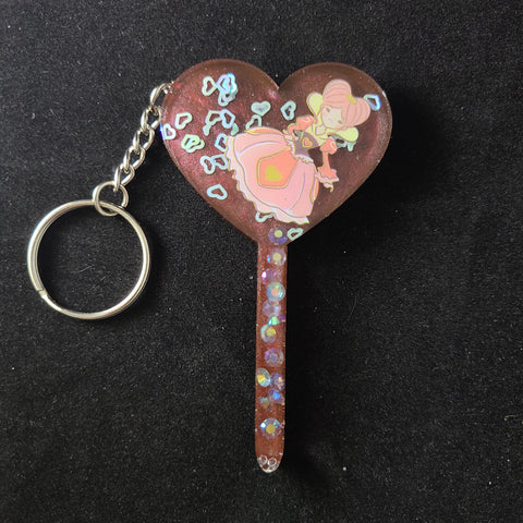 Queen of Hearts Heart Wand Keychain